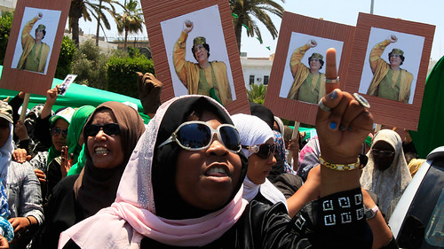 Women in Libya demonstrating in support of the revolutionary government of Muammar Gaddafi. The North African state has been fighting the imperialist onslaught for over eight months. by Pan-African News Wire File Photos