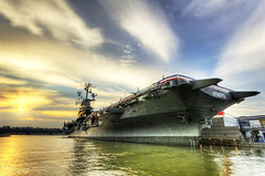 The USS Intrepid, Side View, at Sunset (iamNigelMorris) Tags: ocean new york nikon atlantic intrepid uss hdr