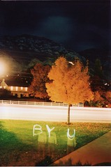 Fun with Film (geoffreyyoungblood) Tags: park b autumn red orange mountain heritage fall leaves landscape utah october university nightshot pentax parks belltower provo byu brighamyounguniversity ymountain openlense ymtn