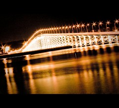 Asia | Macau: City of dreams~ (Vu Pham in Vietnam) Tags: china bridge light reflection yellow night asia exposure candid lighttrails macau macao cityofdreams raininvietnam commentwithimageswillbedeletedsosorryforthis