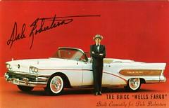 "1958 Buick ""Wells Fargo"", with Dale Robertson (aldenjewell) Tags: buick postcard convertible 1958 wellsfargo dalerobertson"