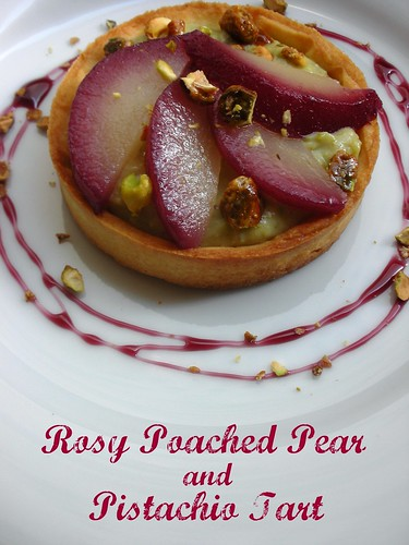 rosy poached pear and pistachio tart