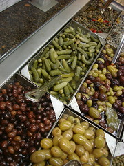 Pickled Pickles (drew*in*chicago) Tags: black green bar italian dish sweet side wholefoods salty olives pickles pickled assortment savory artichoke capers saucy caper tapenade gherkins drewinchicago