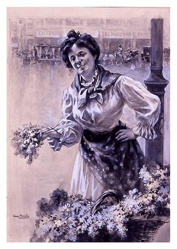 I.E.A. 22 MAYO 1904-1.º N.º XIX. Pág. 297. LILAS-LA FLORISTA- Dibujo de Ruiz Morales