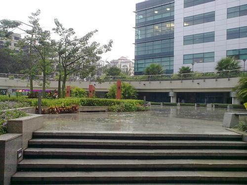 It's raining 31st Dec 09. RMZ Infinity