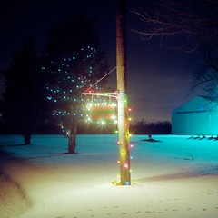 XY12 (peterbaker) Tags: xmas snow sign barn yard lights dundee michigan pole hasselblad