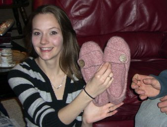 Pink Felted Slippers