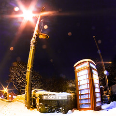 Public Telephone - Day 141, Year 2 (purplemattfish) Tags: road snow night long exposure phone box telephone fisheye project365 zenitar16mmf28