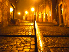 Crowther Street, painted by Lowry, photographed by moi ;) (my lovely life through a lens) Tags: street houses light rail cobbles