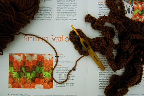 working on a scallop afghan