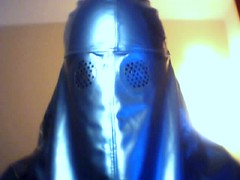 Blue Burqa Straight On (latexladyll) Tags: veil ds bondage rubber bdsm latex hood restricted burqa gagged silencing