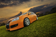 Florida's HOT. (Jordan Donnelly) Tags: park sunset sky orange vw photoshop sunrise canon golf volkswagen lens eos rebel angle florida body low wheels wide sigma bbq drop fahrenheit special jordan adobe kit gti 1020mm audi edition v10 markham 2010 xsi r8 broward rieger vdub mkv complimentary donnelly mk5 euac 450d eemilitia tw0r