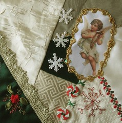 joint block after Lisa (ivoryblushroses) Tags: christmas red white green beads lace embroidery embellishments crazyquilting seams sre