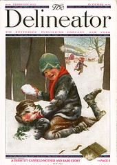 Delineator cover_Feb.1915_tatteredandlost (T and L basement) Tags: snow children ephemera vintagemagazineillustration childrenplayinginsnow charlesarchibaldmaclellan delineatorfebruary1915
