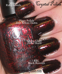 Black with Red Glitter Comparison (CrystalPolish) Tags: black glitter milani chinaglaze piggypolish rescuebeautylounge