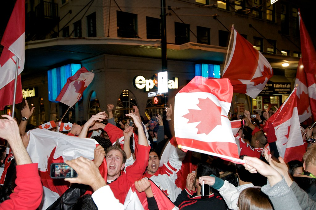 People Celebrate Team Canada Victory