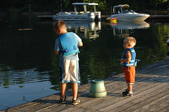 Children Fishing at Marina