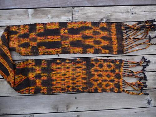 finished woven Shibori scarf