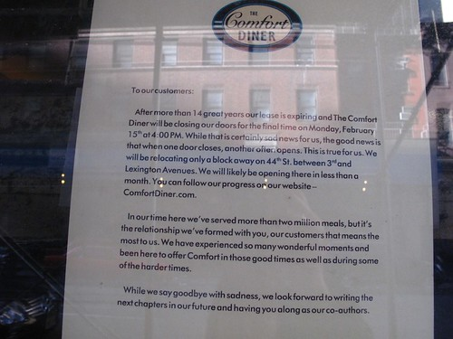 Comfort Diner moving to 44th bet 3rd and Lex