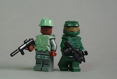 Sgt Major Johnson & the Master Chief (Dunechaser) Tags: lego johnson halo armor minifig minifigs custom avery masterchief spartan sergeant mjolnir john117 brickarms brickforge