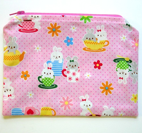 Bunny Easter Tea Party Zippered Pouch