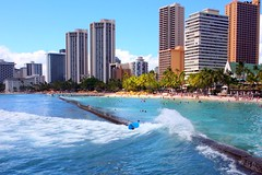 Kuhio Beach, Waikiki, Oahu (MFMarlow) Tags: ocean vacation hawaii waikiki bluesky palmtrees tropical honolulu hotels oceanview sandybeach whiteclouds bluesea breakingwaves oceanwaves canoneos5d kuhiobeach