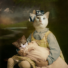 The attentive girl - l'attentive (Martine Roch) Tags: family portrait baby cute girl sisters cat vintage square costume kid kitten antique surreal imagination surrealist manray petitechose martineroch flypapertextures