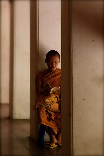 A Monk Studies At A Bangkok Temple