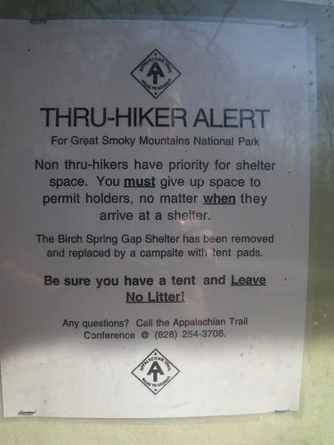 Thru Hiker Alert GSMNP