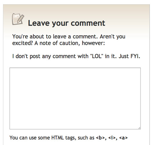 "Decorno blog: ""I don't post any comment with ""LOL"" in it. Just FYI."""