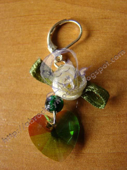 artesania bilbao pendiente flor tela corazon swarovsky
