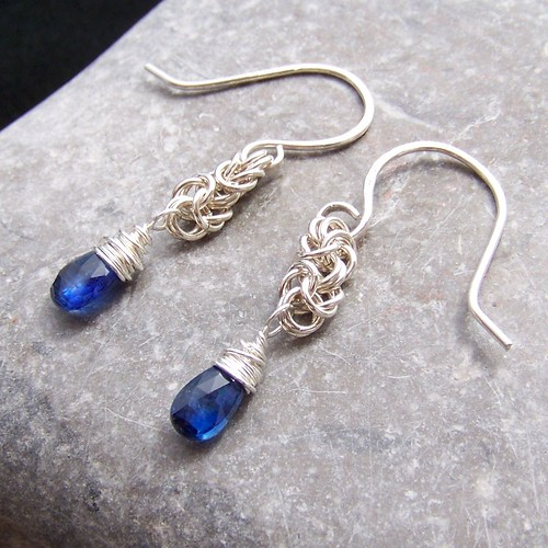 sterling silver byzantine and kyanite earrings