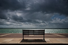 i didn't want you to miss out (AndWhyNot) Tags: shadow sea holiday silhouette clouds bench solitude shadows bright empty seat think sunny stormy jour esplanade solent sit strong rest seafront contemplate deserted contre southsea 4994