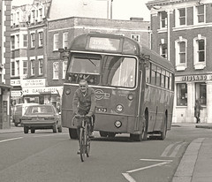 In hot pursuit (Lost-Albion) Tags: blackwhite cyclist pentax surrey kingston londontransport aec regaliv rf502 mxx479