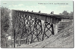 Viaduct on Illinois Central Railroad near Bloomfield, Indiana (Hoosier Recollections) Tags: usa history industry bridges indiana transportation rivers streams businesses railroads bloomfield greenecounty tuliptrestle hoosierrecollections