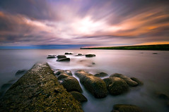 Caught out by the Tide (dan barron photography - landscape work) Tags: longexposure light lighthouse seascape reflection landscape pier rocks waves tynemouth clocks cloudtrails