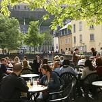 Luxembourg: Vieille ville, Terrasse au bord du fleuve de l'Alzette dans le quartier du Grund10
