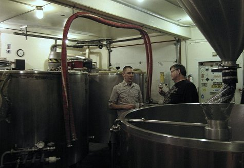 Jacob showing us around the brewery.