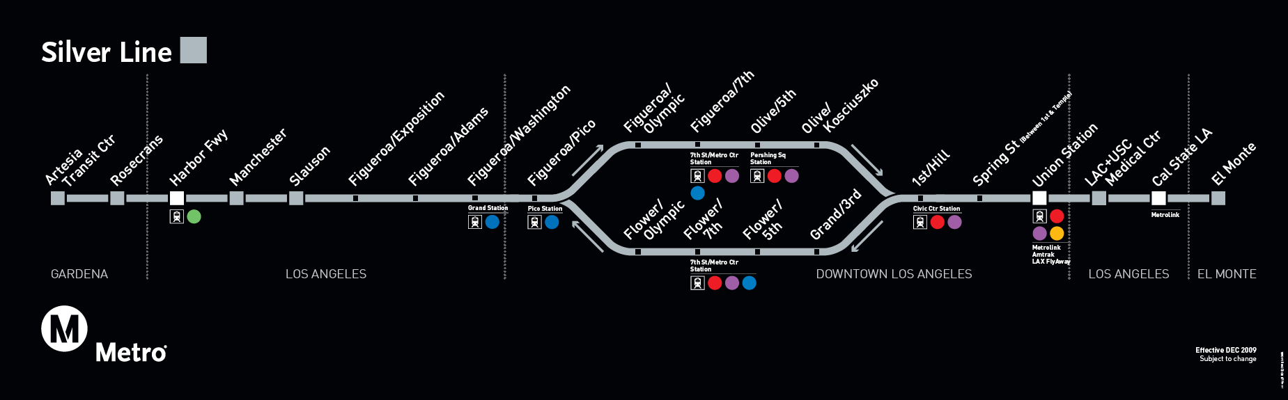 Guide To The Metro Silver Line The Source - Los angeles metro line map