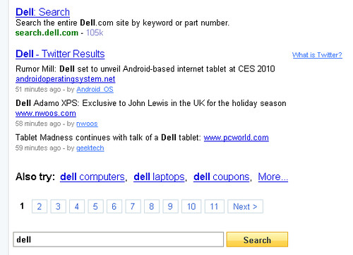 "Twitter results for ""Dell"" in Yahoo! Web Search"