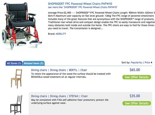 Shoprider electric wheelchair at comparison-shopping store. Related Items tab suggests wooden dining chairs.