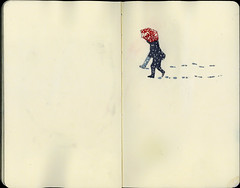 Walking in the snow (Wil Freeborn) Tags: snow moleskine umbrella walking sketch glasgow journal