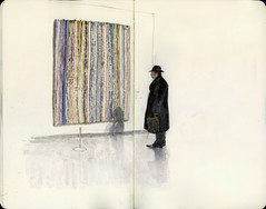 Looking at a Bridget Riley (Wil Freeborn) Tags: moleskine riley sketch glasgow journal goma moma bridget