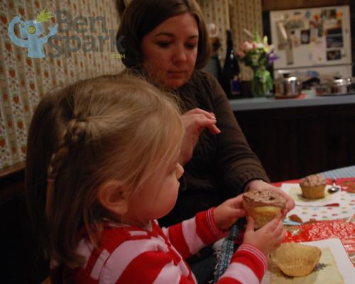 Enjoying cupcakes