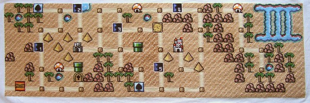 Super Mario Bros 3 - map of world 2 - in cross-stitch