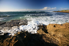 Iron Shore (laszlo-photo) Tags: ocean sky weather rock hawaii surf day pacific oahu clear northshore reef ironshore
