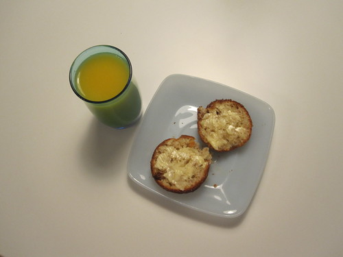 Muffin, butter, orange juice