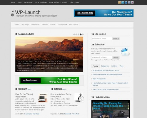 Launch   SoloStream Premium WordPress Theme