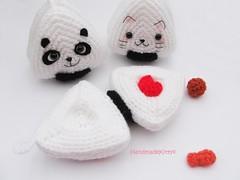Japanese Onigiri Dolls Kitty Panda with special fillings heart salmon umeboshi crochet pattern (HandmadeKitty=^_^=) Tags: japan toy japanese doll panda pattern crochet kitty onigiri amigurumi  nori  riceball umeboshi    handmadekitty