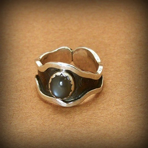 Ring of Balance gray moonstone and sterling silver